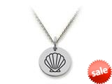 Stellar White™ 925 Sterling Silver Disc Charm Outline Shell -  16 To 18 Inch Adjustable Chain Included