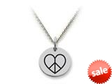 Stellar White™ 925 Sterling Silver Disc Charm Peace Heart -  16 To 18 Inch Adjustable Chain Included