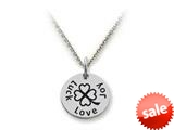 Stellar White™ 925 Sterling Silver Disc Charm Love, Joy, Luck -  16 To 18 Inch Adjustable Chain Included