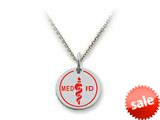 Stellar White™ 925 Sterling Silver MED ID Small Disc Pendant - Chain Included style: SS5123