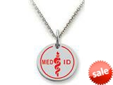 Stellar White™ 925 Sterling Silver MED ID Large Disc Pendant - Chain Included style: SS5125