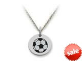 Stellar White™ 925 Sterling Silver Disc Charm - Soccerball -  16 To 18 Inch Adjustable Chain Included