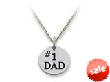 Stellar White™ 925 Sterling Silver Disc Charm - #1 Dad -  Chain Included style: SS5139