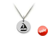 Stellar White™ 925 Sterling Silver Disc Charm - Sailboat -  Chain Included style: SS5145