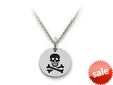 Stellar White™ 925 Sterling Silver Disc Charm - Skull and Crossbones -  Chain Included style: SS5146