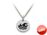 Stellar White™ 925 Sterling Silver Disc Charm - Waves -  16 To 18 Inch Adjustable Chain Included