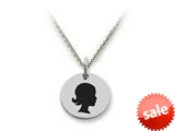 Stellar White™ 925 Sterling Silver Disc Charm - Girl Head -  16 To 18 Inch Adjustable Chain Included