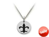 Stellar White™ 925 Sterling Silver Disc Charm - Fleur De Lis -  16 To 18 Inch Adjustable Chain Included