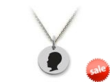 Stellar White™ 925 Sterling Silver Disc Charm - Boy Head -  16 To 18 Inch Adjustable Chain Included