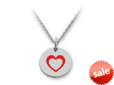 Stellar White™ 925 Sterling Silver Disc Charm - Open Heart -  16 To 18 Inch Adjustable Chain Included