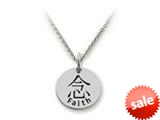 Stellar White™ 925 Sterling Silver Disc Charm - Kanji Faith -  16 To 18 Inch Adjustable Chain Included