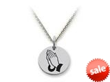 Stellar White™ 925 Sterling Silver Disc Charm - Praying Hands -  16 To 18 Inch Adjustable Chain Included