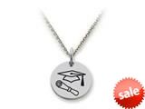 Stellar White™ 925 Sterling Silver Disc Charm - Grad Cap and Diploma -  16 To 18 Inch Adjustable Chain Included