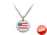 Stellar White™ 925 Sterling Silver Disc Charm - USA Flag -  16 To 18 Inch Adjustable Chain Included