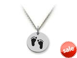 Stellar White™ 925 Sterling Silver Disc Charm - Footprints -  Chain Included style: SS5182