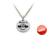 Stellar White™ 925 Sterling Silver Disc Charm - Mom`s Taxi -  16 To 18 Inch Adjustable Chain Included