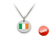 Stellar White™ 925 Sterling Silver Disc Charm - Ireland Flag -  16 To 18 Inch Adjustable Chain Included