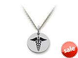 Stellar White™ 925 Sterling Silver Disc Charm - Caduceus -  16 To 18 Inch Adjustable Chain Included