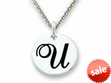 "Stellar White™ 925 Sterling Silver Script Initial ""U"" Disc Pendant-16 to 18 Inch Adjustable Chain Included"