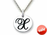 "Stellar White™ 925 Sterling Silver Script Initial ""X"" Disc Pendant-16 to 18 Inch Adjustable Chain Included"