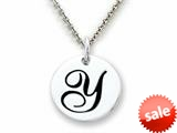 "Stellar White™ 925 Sterling Silver Script Initial ""Y"" Disc Pendant-16 to 18 Inch Adjustable Chain Included"