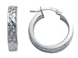 Stellar White Rhodium Small Round Diamond Cut Hoop Earrings