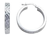 Stellar White Rhodium Round Medium Diamond Cut Hoop Earring