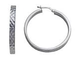 Stellar White Rhodium Round Large Diamond Cut Hoop Earrings