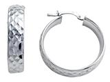Stellar White Rhodium Medium Diamond Cut Hoop Earrings