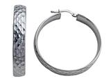 Stellar White Rhodium Plated Large Diamond Cut Hoop Earrings