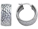 Stellar White™ Rhodium Diamond Cut Small Hoop Earings style: SE1068