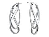 Stellar White Rhodium Twist Hoop Earrings