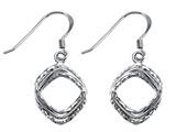 Stellar White Rhodium Shepherd Hook Diamond Cut Square Earrings