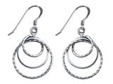 Stellar White Rhodium Diamond Cut 3 Circles Shepherd Earrings