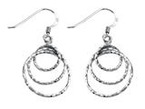Stellar White Rhodium Diamond Cut Circles Shepherd Hook Earrings
