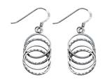 Stellar White Rhodium Alt 4 Circles Shepherd Hook Earrings