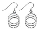 Stellar White Rhodium 3 Circle Diamond Cut Shepherd Hook Earrings