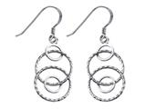 Stellar White Rhodium Alt Circles Shepherd Hook Earrings