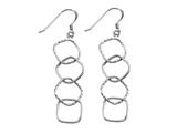 Stellar White Rhodium 4 Alt Squares Shepherd Hook Earrings