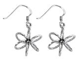 Stellar White™ Rhodium 3D Diamond Cut Shepherd Hook Earrings