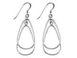 Stellar White Rhodium Pear Alt Diamond Cut Shepherd Hook Earrings