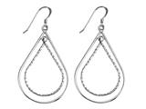 Stellar White Rhodium Alt Large Pear Shepherd Hook Earrings