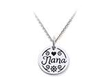 Stellar White 925 Sterling Silver Disc Charm - Nana -  Free 16 To 18 Inch Adjustable Chain Included