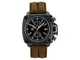 Andrew Marc Men`s Heritage Cargo Black Case With Brown Strap Chronograph Watch