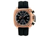 Andrew Marc Men`s Heritage Cargo Rose Gold Case With Black Strap Chronograph Watch