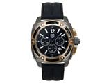 Andrew Marc Men`s G III Bomber Gunmetal Case With Black Strap Chronograph Watch