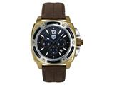 Andrew Marc Men`s G III Bomber Gold Case With Brown Strap Chronograph Watch