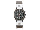 Andrew Marc Men`s Heritage Scuba Gunmetal Case With White Strap Chronograph Watch