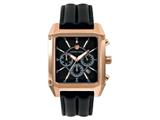 Andrew Marc Men`s Club Patrol Rose Gold Case With Black Strap Chronograph Watch