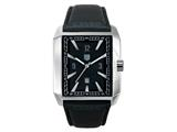 Andrew Marc Men`s Club Hipster Stainless Steel Case With Black Strap 3-Hand Date Watch